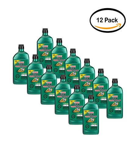 PACK OF 12 - Castrol GTX High Mileage 5W-20 Synthetic Blend Motor Oil, 1 QT