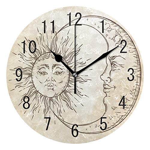 ALAZA Home Decor Art Sun Crescent Moon Emoji Face Round Acrylic Wall Clock Non Ticking Silent Clock Art for Living Room Kitchen - Sun Face Clock Wall