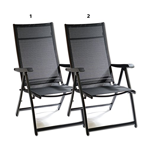 Heavy Duty Durable Adjustable Reclining Folding Chair Outdoor Indoor Garden Pool (2) ()
