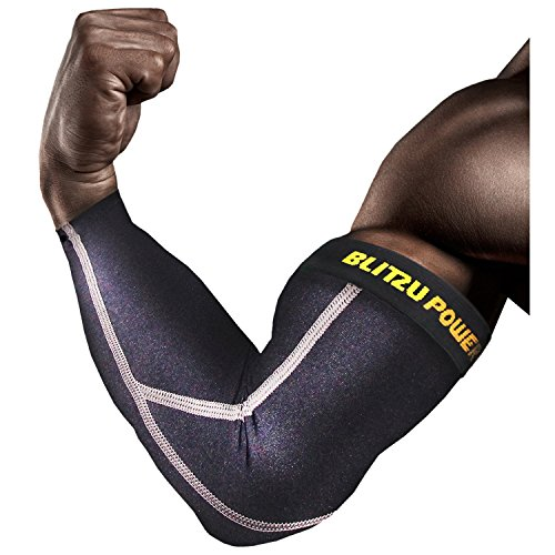 "BLITZU Elbow Compression Sleeve (1 Pair) POWER + Biceps Arm Brace Support. Premium Shooter Sleeves. For Basketball, Baseball, Tennis, Yoga, Golf. (Black, Small (Bicep 10""-11""))"