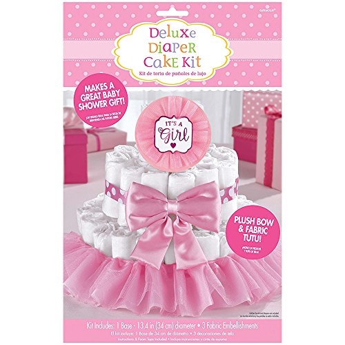 Amscan Party Supplies Pink It's a Girl Baby Shower Diaper Cake Decorating Kit, Multi Color