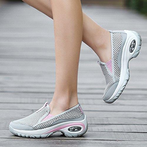 Le Donne Enllerviid Scivolano Sulla Piattaforma Corsa / Jogging / Fitness / Scarpe Da Passeggio Con Fondo Spesso A17805 Grigio Chiaro