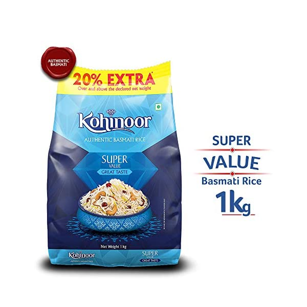 Kohinoor Super Value Basmati Rice, 1 Kg + 20% Extra | Authentic Basmati Rice 2021 June [AUTHENTIC BASMATI RICE]: Naturally curated and nurtured with the utmost care [VALUE FOR MONEY]: Extra value basmati rice with super aroma, superior length and supreme taste [FLAVOURFUL AND AROMATIC]: Ultimate taste and sweet earthy aroma enhance the rice-eating experience