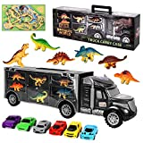 Aokesi Truck Toy Cars Dinosaur Transport Carrier Vehicles Toy Set with 6 Dinosaurs and 6 Mini Cars Great Dinosaur Toys for Boys and Girls (Includes Play Map) (Renewed)