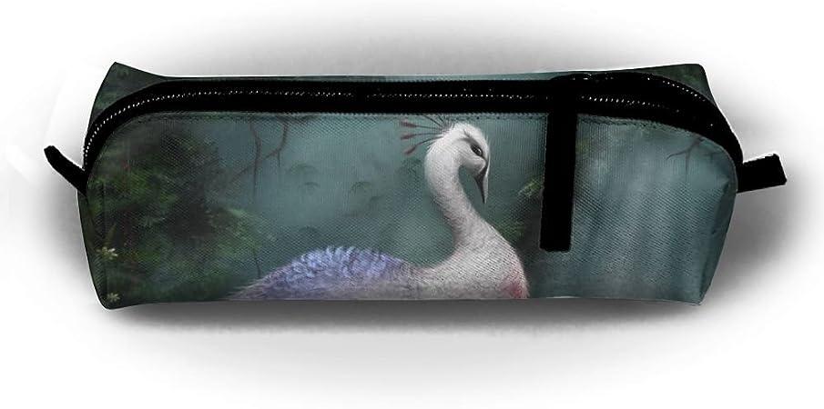 Diswpi Estuche de papelería para estudiantes, bolígrafo, estuche, estuche, estuche para rotuladores de color blanco con diseño de pavo real y animales: Amazon.es: Hogar