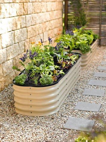 Raised Metal Garden Bed Cream Finish Amazon Co Uk Garden Outdoors