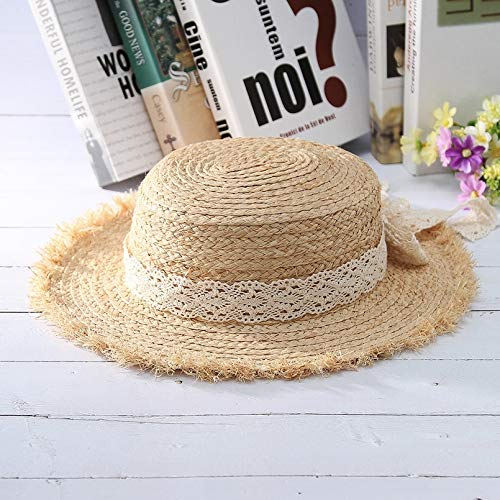 (YUGUO Sunhat Trendy Straw Hat for Women Lace Bowknot Raffia Woven Sun Hat Ladies Summer Beach Hat Flat Brim Straw Hat )