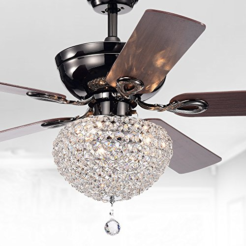Warehouse of Tiffany CFL-8176CH Taliko Ceiling Fan 52-inch 3-Light Black Metal Housing Crystal Shade Basket, Silver