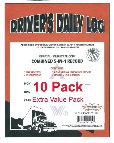 J.J. Keller 607L 5-In-1 Driver's Daily Log Book, 2-Ply, w/Carbon. Book Format, w/Detailed DVIR, 8-1/2