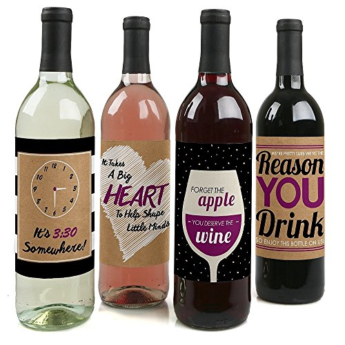 Teacher Appreciation - Wine Bottle Labels - Set of 4