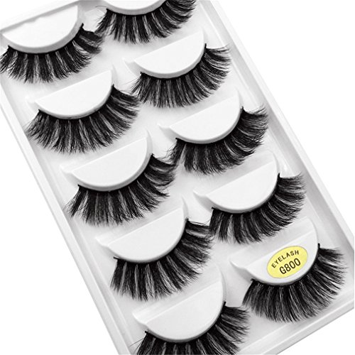 5 Pairs Eyelashes 3D Mink Lashes Natural Long 1 Box Mink Eye