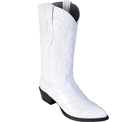 2c3a67e2f6d Genuine EEL Skin White J-Toe Los Altos Men's Western Cowboy Boot 990828