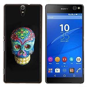 """For Sony Xperia C5 Ultra Case , Floral muerte del gris del cráneo azul Huesos"""" - Diseño Patrón Teléfono Caso Cubierta Case Bumper Duro Protección Case Cover Funda"""