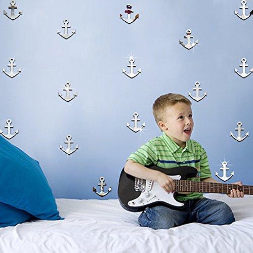Ufengke 9-Pcs 3D Silver Anchor Mirror Effect Wall Decals,Children's Room Nursery Fashion Design Art Decals Home Decoration
