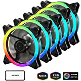 led 120mm fan - upHere RGB Series Case Fan, Wireless RGB LED 120mm Fan,Quiet Edition High Airflow Adjustable Color LED Case Fan for PC Cases-5 Pack,RGB123-5