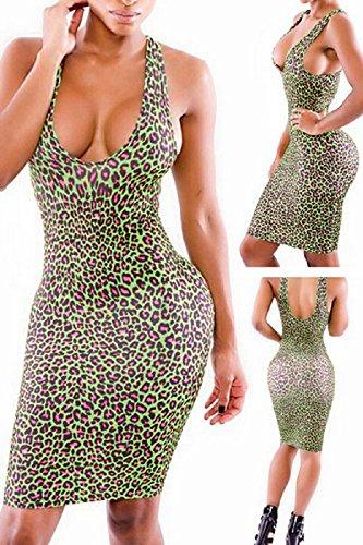 Neuf pour femmes Imprimé léopard bodycon Midi Robe de soirée d'été robes Taille UK 10–12