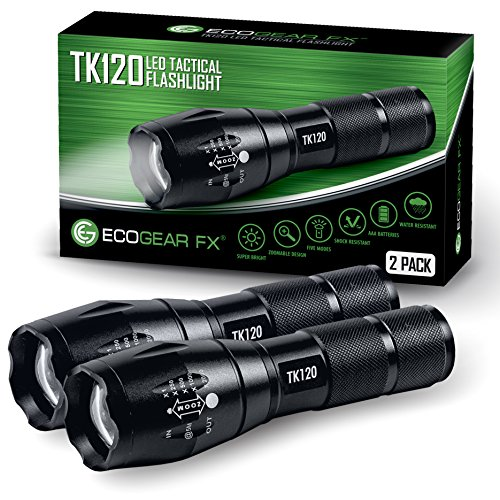 EcoGear FX LED Tactical Flashlight - TK120 Handheld Light with 5 Light Modes, Water Resistant, Zoomable - Best Camping, Outdoor, Emergency, Everyday Flashlights - Unique Gifts for Men [2 Pack]
