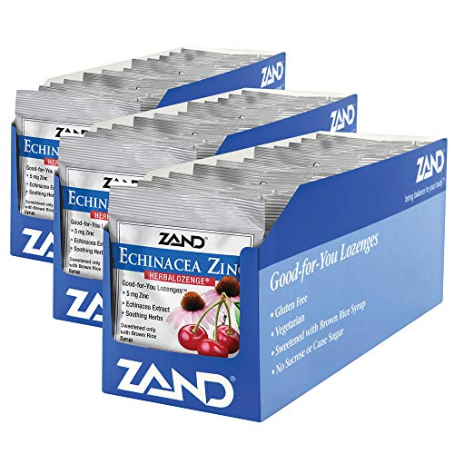 Zand HerbaLozenge Cherry Echinacea Zinc | Throat Lozenges | No Corn Syrup, No Cane Sugar, No Colors | 15 Lozenge, 36 Bags