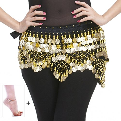 Gypsy Costume Ideas For Women (Mutreso Belly Dance Hip Scarf with 320 Gold Ringing Coins 150cm Dance Coin Belt Profession Velvet Performance Skirt Hip Wrap Black)