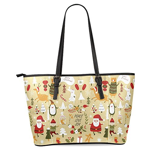 - InterestPrint Christmas with Cute Santa Claus, Bear, Trees, Flowers, Mittens, Snowflakes Women's Leather Tote Shoulder Bags Handbags
