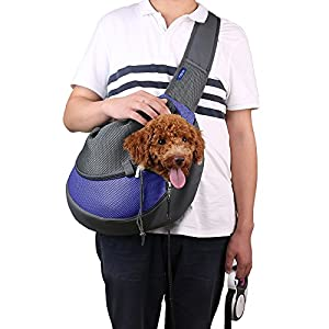 CISNO Small Pet Dog Cat Kitty Carry Carrier Outdoor Travel Oxford Single Shoulder Bag Sling (M, Blue)