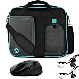 Pindar Water-Resistant Durable Nylon Protective Messenger Shoulder Bag [AQUA/BLACK] For ASUS 14-inch Notebook Laptop Computer + x2 Cable Organizers + Wireless 2.4Ghz Mouse