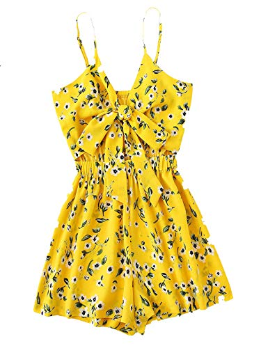 Yellow Floral Romper - MAKEMECHIC Women's Wide Leg Elastic Waist Tie Front Floral Print Strap Boho Cami Romper Yellow Large