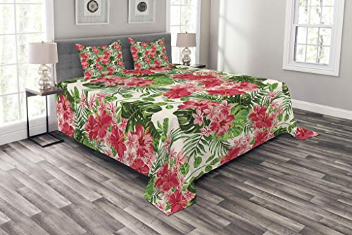 Lunarable Floral Bedspread, Tropical Botanic Flowers Leaves Ivy Island Hawaiian Image, Decorative Quilted 3 Piece Coverlet Set with 2 Pillow Shams, King Size, Pink Hunter Green Jade Green