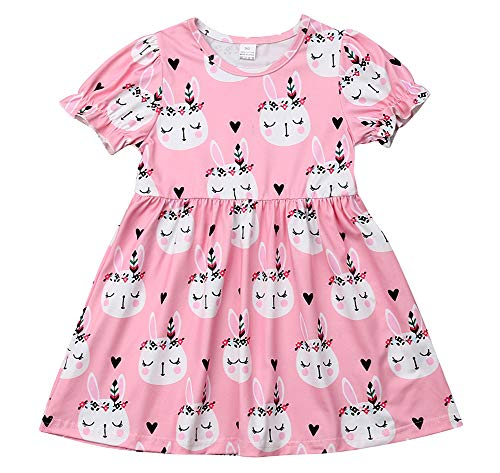 Kids Toddler Girl Easter Dress Bunny Floral Easter Girls Clothes Outfit (Pink, 90(2-3T))]()