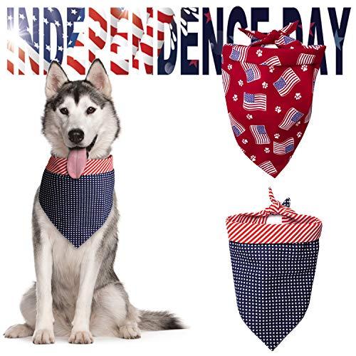 Toozey 2 PackDog Bandana American Flag Dog Bandana USA Dog Bandanas-Make American Great Again. Washable American Flag Bandana Dog Kerchief for Pet Dog