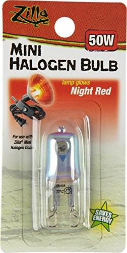 Red Heat Incandescent Bulb - Zilla Reptile Terrarium Heat Lamps Mini Halogen Bulb, Night Red, 50W