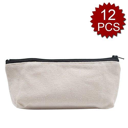 Aspire 12PCS Canvas Pencil Zipper Pouch, Flat Bottom Makeup