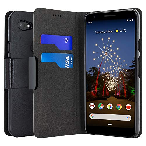 Olixar for Google Pixel 3a XL Wallet Case - PU Faux Leather/Leather Style Flip Cover - Credit Card Storage - -