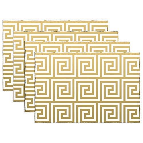 Yilooom Placemats Set of 6,Elegant Gold and White Greek Key Pattern Throw Canvas Table Mats Washable Fabric Placemats for Kitchen Dining Table Decoration 12 X 18 ()