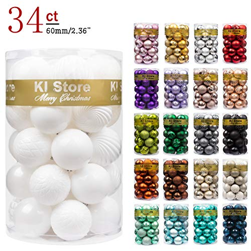 Holiday Decoration Stores (KI Store 34ct Christmas Ball Ornaments Shatterproof Christmas Decorations Tree Balls for Holiday Wedding Party Decoration, Tree Ornaments Hooks Included 2.36