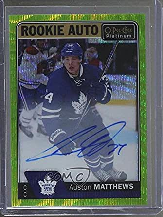 Auston Matthews #6/10 (Hockey Card) 2016-17 O-Pee-Chee Platinum - Rookie Autographs - Emerald Surge #R-AM