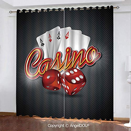 SCOCICI 2 Panels Set Personalized Printed Blackout Grommet Window Curtains Dices and Playing Card Casino Theme Luck Risky Game for Bathroom Living Room Bedroom