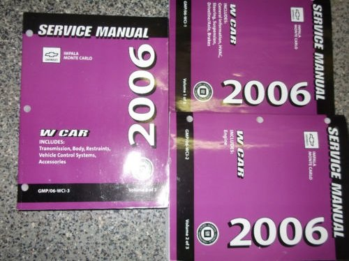 2006 CHEVY CHEVROLET IMPALA & MONTE CARLO Service Shop Repair Manual SET GM
