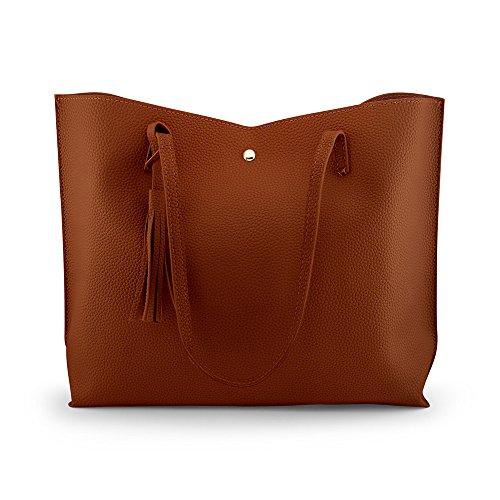 Oct17 Women Large Tote Bag - Tassels Faux Leather Shoulder Handbags, Fashion Ladies Purses Satchel Messenger Bags (Brown) by Oct17