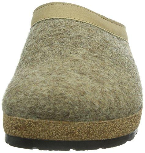 Haflinger Grizzly Leder Damen Flache Hausschuhe Braun (torf / 550)