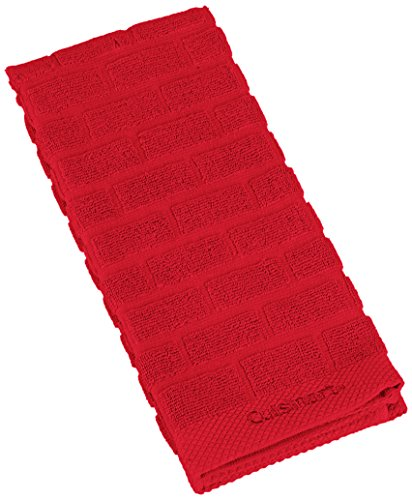 Cuisinart Sculpted Subway Tile Cotton Terry Absorbent Kitchen Towel, Red
