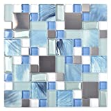 Sea Blue Green Glass Stainless Steel Tile White Kitchen Bath Backsplash Artistic Mosaic TSTMGB028 (5 PCS [12'' X 12''/Each])
