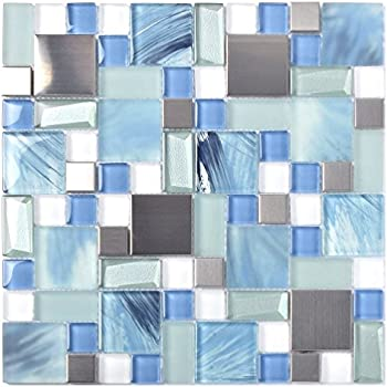 Sea Blue Green Glass Stainless Steel Tile White Kitchen Bath Backsplash Artistic Mosaic TSTMGB028 (1 Sample [6''x6''])