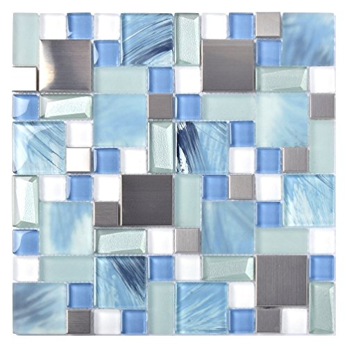 Beach Tile - Sea Blue Green Glass Stainless Steel Tile White Kitchen Bath Backsplash Artistic Mosaic TSTMGB028 (5 PCS [12'' X 12''/Each])