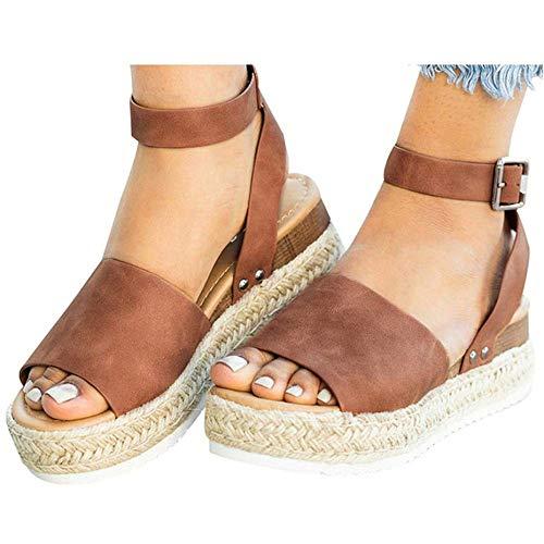 Leather Espadrilles Wedge - Mafulus Womens Espadrilles Platform Sandals Wedge Ankle Strap Studded Open Toe Summer Sandals Brown