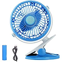 BestFire Clip on Mini Desk Fan Clip and Table Fan Small Portable Rechargeable USB Cooling Fan Personal Fans 360 Degree Rotation Stepless-speed USB or 18650 Battery Powered (Blue)