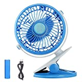 Image of BestFire Clip on Mini Desk Fan Clip and Table Fan Small Portable Rechargeable USB Cooling Fan Personal Fans 360 Degree Rotation Stepless-speed USB or 18650 Battery Powered (Blue)