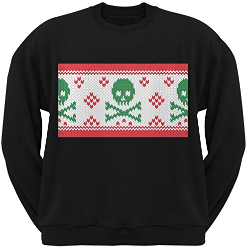 Knit Skull And Crossbones Ugly Christmas Sweater Black Adult Crew Neck Sweatshirt - (Skull And Crossbones Knit)