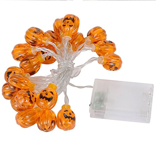 W Fashion shop 20 Bulbs Halloween Pumpkin LED String Light Lamp Set Party Decoration Bulb masquerade Terror LED Night Light