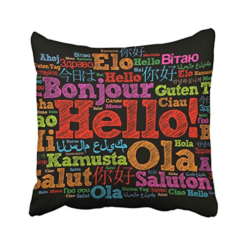 Emvency Foreign Hello Word Cloud in Different Languages of the World Concept English Education Collage Italian Travel Throw Pillow Cover Covers 16x16 Inch Decorative Pillowcase Cases Case Two Side ()